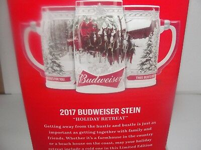 2017 BUDWEISER HOLIDAY CHRISTMAS CLYDESDALE STEIN WITH BOX - Last one