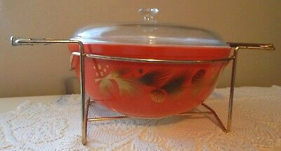 Vintage Pyrex 4Qt Red Bowl Christmas Golden Leaf Holly & Pinecone W/lid & Cradle