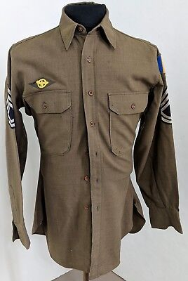 WWII US Army OD Wool Shirt Size 14 1/2 X 34 Named