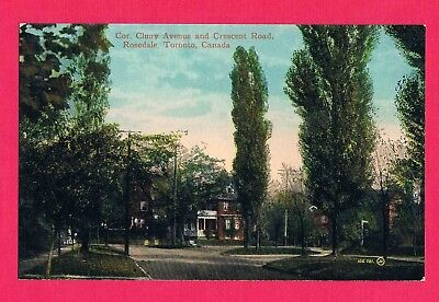 Cor. Cluny Avenue and Crescent Road, Rosedale Toronto Canada Post Card