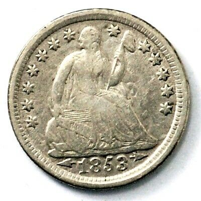 1853 Seated Liberty Half Dime, Arrows at Date - VF - 5c Silver