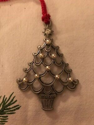 5 DAYS - Avon 2004 PEWTER Christmas Tree ORNAMENT Red VELVET Bag EXCELLENT Cond