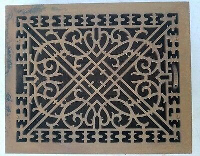 Antique Cast Iron Heat Grate Floor/Wall Vent Register Louvers Large Ornate Old
