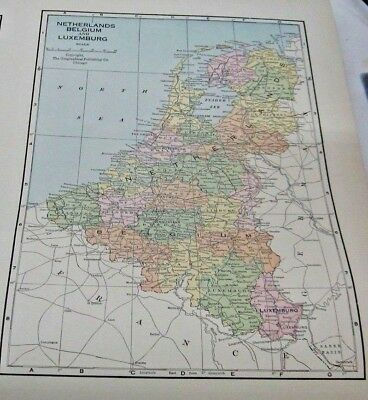 1933 Map of The Netherlands, Belgium and Luxembourg from Commercial Atlas
