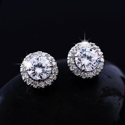Exquisite White Round Topaz Stud Earrings White Gold Best Friend Gifts Jewelry