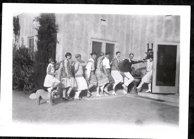 Vintage Photograph 1930's Girls Huge English Bulldog Bull Dog Puppy Old Photo