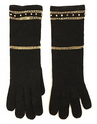 Vintage 1940's-50's Black Knit Ladies Evening Wear Gloves With Gold Accents