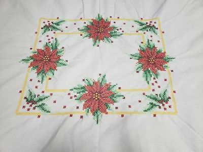 Large Handmade Christmas Cross Stitch Tablecloth 60 x 96 Poinsettias and Holly