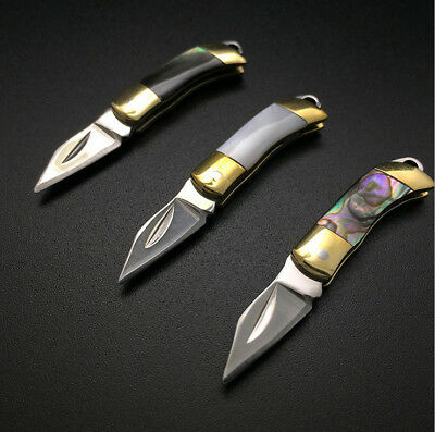 Mini Shell Handle Knife Sharp Camping Rescue Saber Necklace knife with Key Ring
