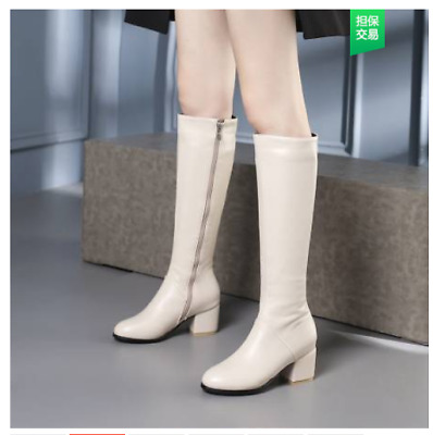 Chunky Block Heel Pointed Toe PU Leather Side Zip Womens Riding Knee High Boots