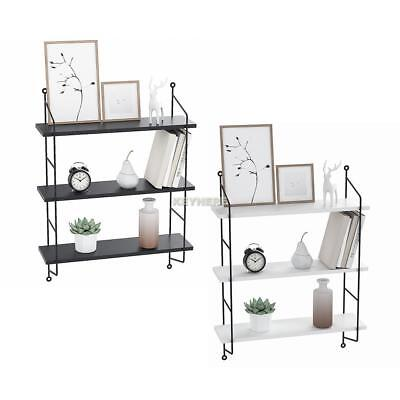 3 Tiers Wall Shelf Rustic Floating Book Shelves Wall Mounted Industrial Modern