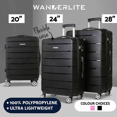 Wanderlite 1/2/3pcs Luggage Set PP Suitcase Set TSA Travel Lightweight Hard Case