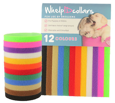 12 Whelping Puppy Kitten ID Velcro Collars Bands - Soft, Adjustable & Resusable