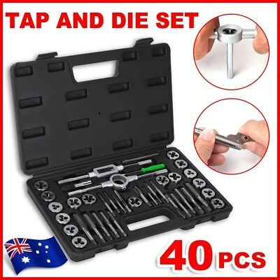 40Pcs Tap and Die Set Screw Screwdriver Thread Wrench Hand Drill Tool Metric Kit