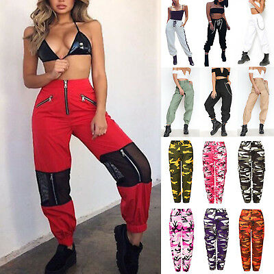 Womens Cargo Trousers Hip Hop Dance Pants Military Army Combat Camo Jeans Casual
