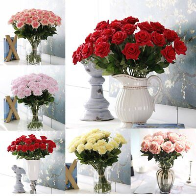 10/20Heads Real Touch Rose Flowers Wedding Party Bouquet Home Decoration