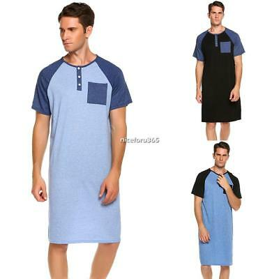 Plug Size Men Comfort Henley Nightshirt Patchwork Sleep Shirt Nightwear 3XL