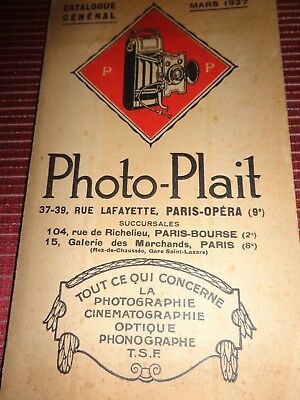 CATALOGUE PHOTO PLAIT APPAREILS PHOTO , 1927   (ref 54)
