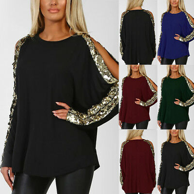 UK Womens Plus Size 6-24 Long Sleeve T Shirts Ladies Loose Tops Blouse Sequins