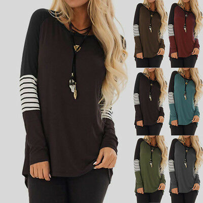 Plus Size Womens Tops Long Sleeve Striped T Shirts Ladies Baggy Tops Blouse 6-24