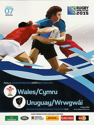 WALES v URUGUAY RUGBY WORLD CUP 2015 OFFICIAL PROGRAMME, 20 Sep @ CARDIFF