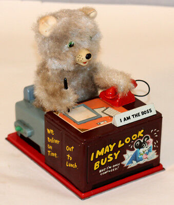 1950s Battery operated TELEPHONE BEAR J-4588 by LINEMAR TOYS (Japan)