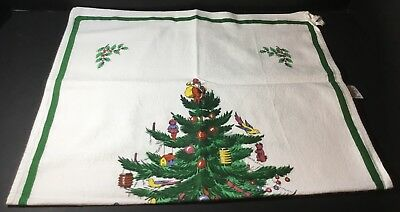 Spode Christmas Tree Kitchen Dish Hand Tea Towel Made in England Cotton Hanger