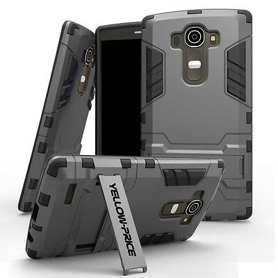 Rugged Impact Armor Hybrid Hard Soft Case Shockproof Stand Cover For LG G4 2015
