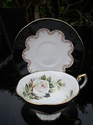 Queens Bone China Cup and Saucer 'EBONY' Roses pattern