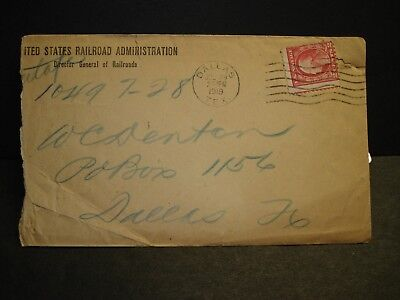 US RAILROAD Administration 1919 Postal History Cover DALLAS, TEXAS