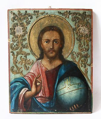 Antique 19th C Russian Hand Painted Wood Icon in Baroque Style of Jesus Christ