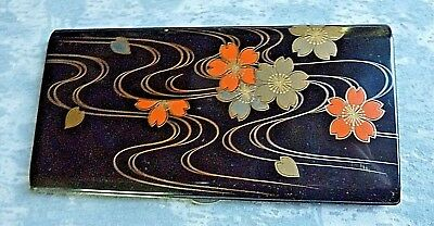 Art Deco 950 Silver Sterling Enamel Floral Cigarette Case Hallmarked 300 Grams
