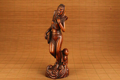 antique art chinese old boxwood hand carved mysterious girl statue netsuke