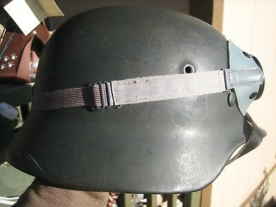 W.w.2 German Helmet With Goggles And Liner And Chin Strap No Decals Rolled Edge.
