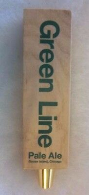 Wooden Goose Island Green Line Pale Ale Craft Beer Tap Handle