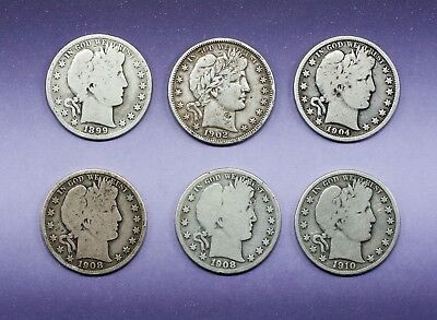 Lot Of 6 Barber 90% Silver Half Dollars Dates 1899-P 1902 -O 04-P 08-0 08-O 10-S