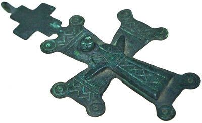 Large Byzantine Bronze Christian Cross Pendant