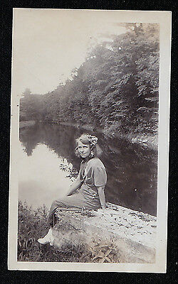 Vintage Antique Photograph Sexy Young Woman Sitting on Wall By Water