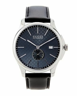 0d8ad79534f Gucci G-Timeless Swiss Automatic Grey Dial Black Leather Men s Watch  YA126319