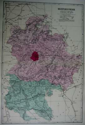 BEDFORDSHIRE BEDFORD ANTIQUE MAP WITH  HAND COLOUR WASH BY GEORGE BACON  c1881