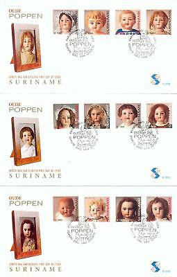 Suriname 3 FDC dolly toy baby Puppen from 2003 fm03