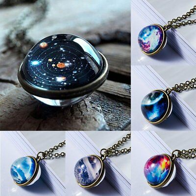 Glow In the Dark Pendant Necklace Universe Galaxy Nebula Space Double Side Glass
