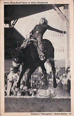 Stryker's Rodeo Series Micky Hicks Rarin' Back Ridin' Blackhawk Vintage Postcard