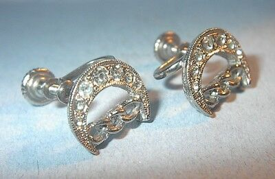 Vintage Odd Fellows Daughters Of Rebekah Earrings Rhinestones Screw Type