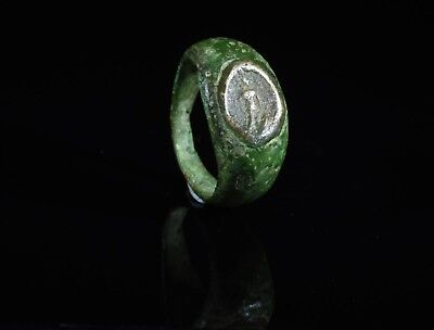 Ancient Roman Bronze Ring With Silver Intaglio Of God Mars In The Bezel - T92