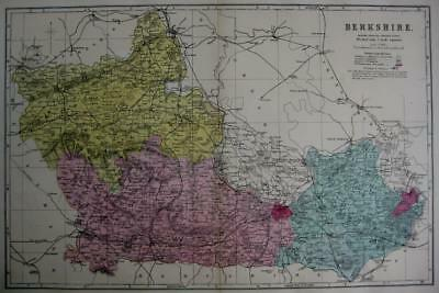 BERKSHIRE WINDSOR  ANTIQUE MAP WITH  HAND COLOUR WASH BY GEORGE BACON  c1881