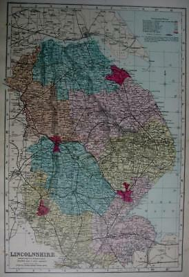 LINCOLNSHIRE LINCOLN  ANTIQUE MAP WITH HAND COLOUR WASH BY GEORGE BACON  c1881
