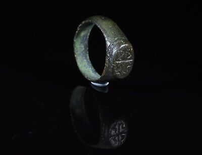 Ancient Romano-Celtic Era Bronze Ring With Symbols - T93