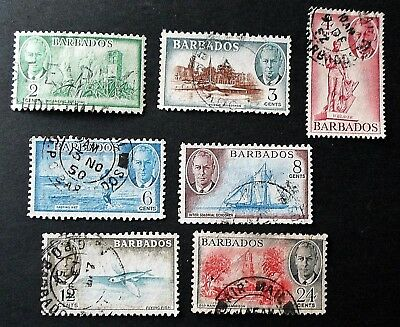 Barbados 1950 KGVI Definitive Range Seven Values to 24 cents Fine Used