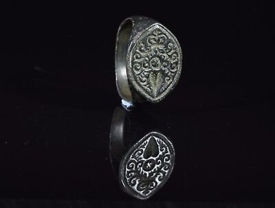 Medieval Crusaders Period Bronze Heraldic Seal Ring With Floral Motif - T94